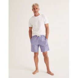 Cotton Poplin Pyjama Shorts - Duke/Tropical Orange Stripe
