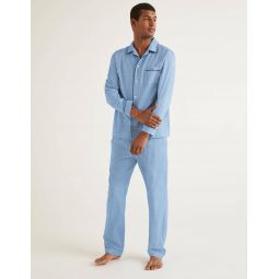 Brushed Cotton Pyjama Set - Sapphire Herringbone