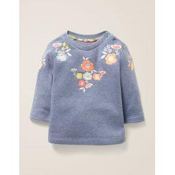 Floral Embroidered Sweatshirt - Elizabethan Blue Marl