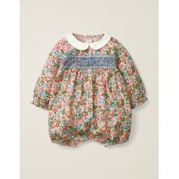 Smocked Printed Romper - Chalky Pink Flower Berry