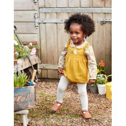 Frilly Embroidered Romper - Mellow Yellow Embroidery