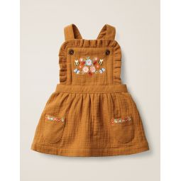 Floral Embroidered Pinafore - Butterscotch Brown Embroidery