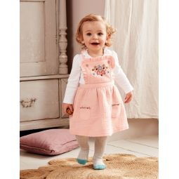 Floral Embroidered Pinafore - Provence Dusty Pink Embroidery