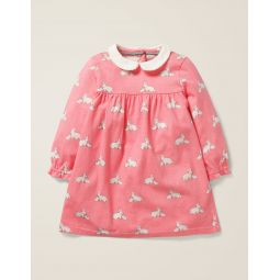 Collared Jersey Dress - Flamingo Pink Baby Bunnies