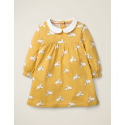 Collared Jersey Dress - Mustard Yellow Baby Bunnies