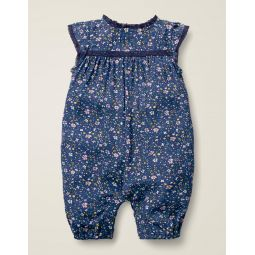 Pretty Woven Romper - Starboard Blue Ditsy Floral
