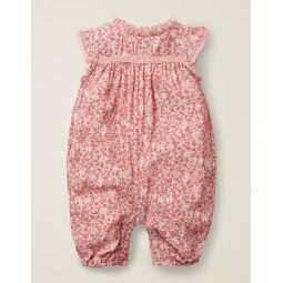 Pretty Woven Romper - Chalky Pink Ditsy Floral