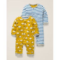 Twin Pack Rompers - Mustard Yellow Baby Sheep