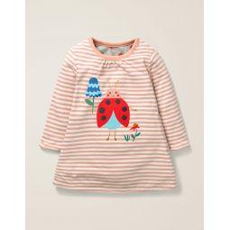 Reversible Dress - Ivory/Chalky Pink Ladybug