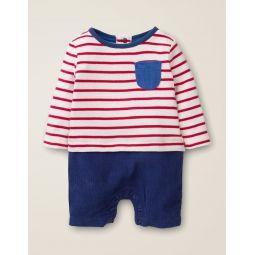 Stripy T-Shirt Romper - Ivory/Poppadew Red