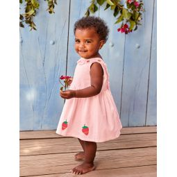 Strawberry Applique Dress - Shell Pink Strawberries