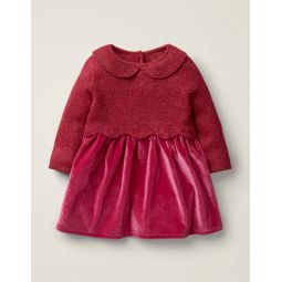 Scallop Knitted Dress - Rose Apple Red