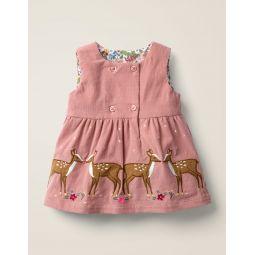 Animal Applique Dress - Dusky Rose Pink Deer