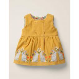 Animal Applique Dress - Mellow Yellow Bunnies