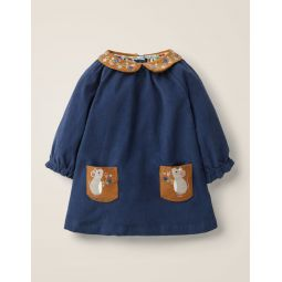 Embroidered Collar Dress - Starboard Blue Mice