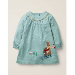 Big Applique Jersey Dress - Cloudburst Blue Bunnies