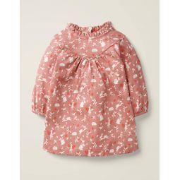 Printed Fairy Jersey Dress - Dusky Rose Pink Fairy Garden