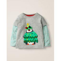 Festive Applique T-Shirt - Grey Marl Penguin Tree