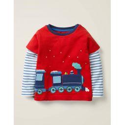 Festive Applique T-Shirt - Rockabilly Red Polar Express
