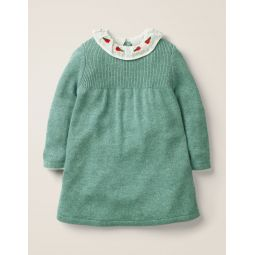 Embroidered Knitted Dress - Mineral Green