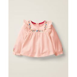Jersey Ruffle Tshirt - Pink Embroidery