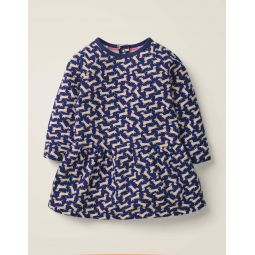 Printed Cosy Dress - Starboard Blue Geo Dogs