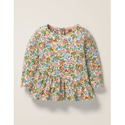 Printed Jersey Frill Top - Chalky Pink Flower Berry