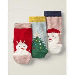 3 Pack Festive Socks - Multi