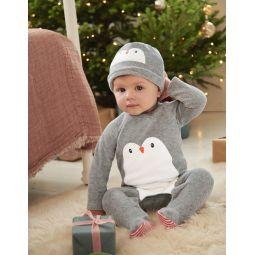 Velour Sleepsuit And Hat Set - Shale Grey Penguin