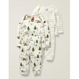Cosy Pointelle Pyjamas - Ivory Festive Baby Penguins