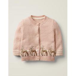 Festive Deer Cardigan - Chalky Pink Deer