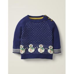 Fun Holiday Sweater - Starboard Blue Snowmen