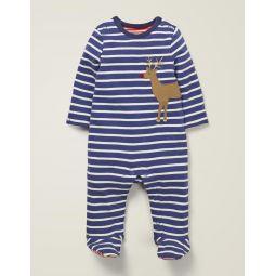 Cosy Applique Sleepsuit - Starboard Blue/Ivory Reindeer