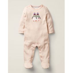 Cosy Applique Sleepsuit - Ivory/Provence Pink Penguin