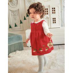 Velvet Animal Applique Dress - Rockabilly Red Robins