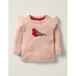 Frill Knitted Sweater - Chalky Pink Robyn
