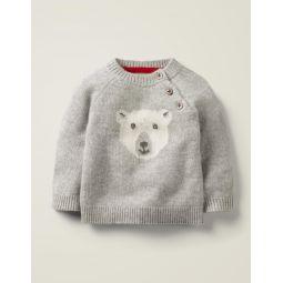 Polar Bear Cashmere Sweater - Grey Marl Polar Bear