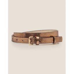 Skinny Buckle Belt - Bronze Metallic