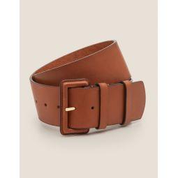 Wide Leather Belt - Tan