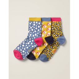 Three Pack Ankle Socks - Saffron Multi