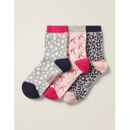 Three Pack Ankle Socks - Grey Multi