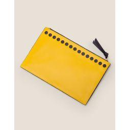Large Leather Keepsake Pouch - Saffron/Navy