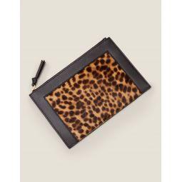 Leather Keepsake Pouch - Tan Leopard/Black