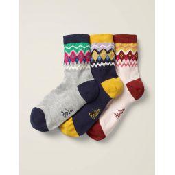 Three Pack Ankle Socks - Fair Isle Multi