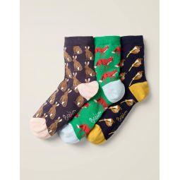 Three Pack Ankle Socks - Animal Multi