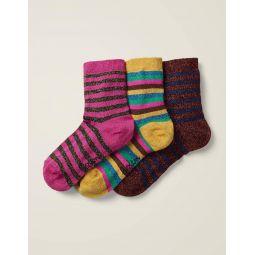 Three Pack Sparkle Socks - Sparkle Stripe Multi