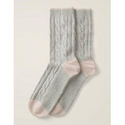 Cashmere Socks - Grey Melange/Milkshake