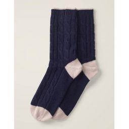 Cashmere Socks - Navy/Milkshake