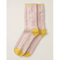 Cashmere Socks - Milkshake/Saffron