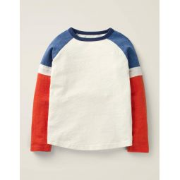 Sporty Raglan T-Shirt - Ivory/Orange Sunset